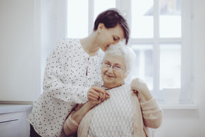Senior woman and her adult daughter Norwell home care